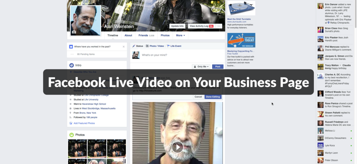Video Marketing Pearl of the Week-Facebook Live on Your Business Page